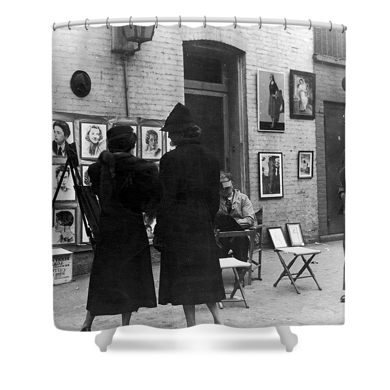 1950s Shower Curtain featuring the photograph Greenwich Village, C1950 by Granger