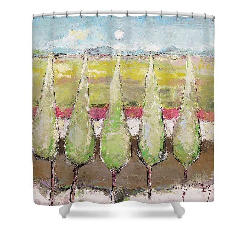 Landscape Shower Curtain featuring the painting Greeting The Early Moon by Becky Kim
