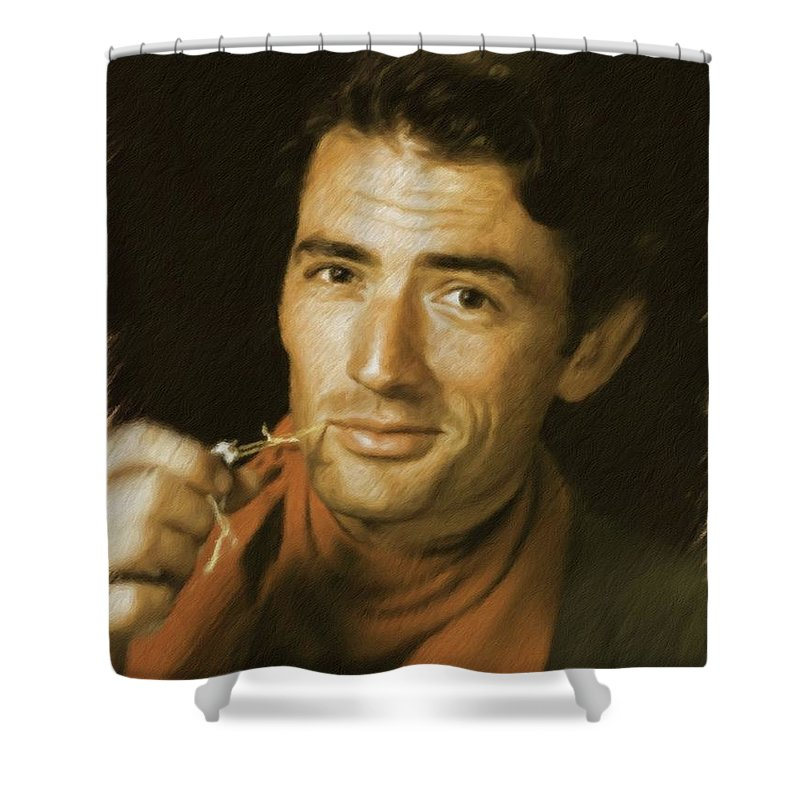 Gregory Shower Curtain featuring the painting Gregory Peck, Vintage Actor by Mary Bassett