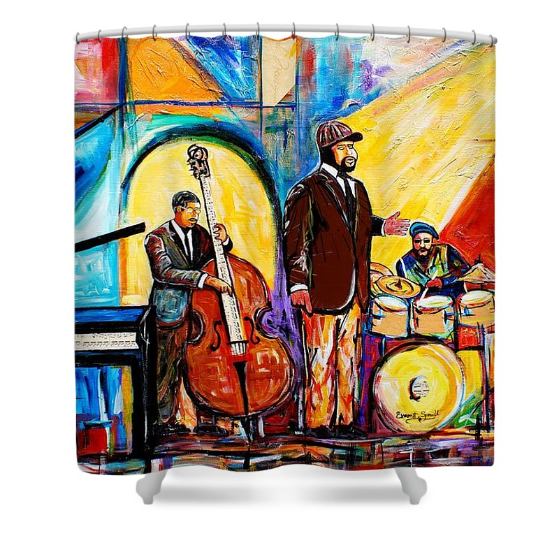 Birmingham Shower Curtain featuring the painting The Gregory Porter Band by Everett Spruill