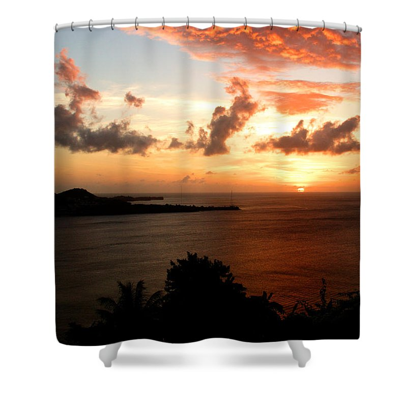 Sunset Shower Curtain featuring the photograph Grenadian Sunset II by Jean Macaluso