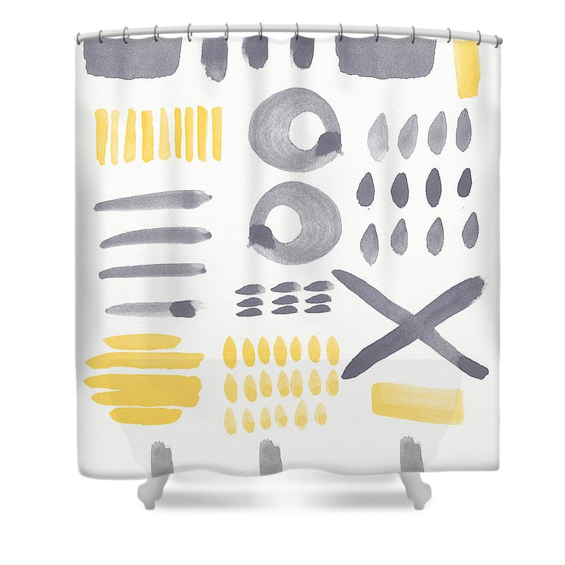 Grey And Yellow Shower Curtain featuring the painting Grey and Yellow Shapes- abstract painting by Linda Woods