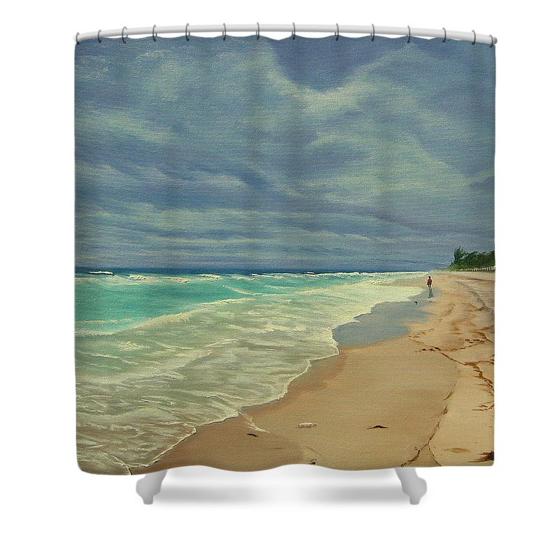 Beach Shower Curtain featuring the painting Grey Day On The Beach by Lea Novak