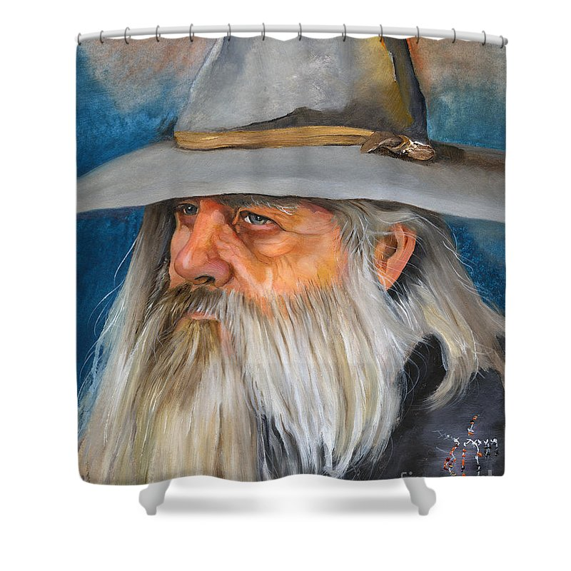 Wizard Shower Curtain featuring the painting Grey Days by J W Baker