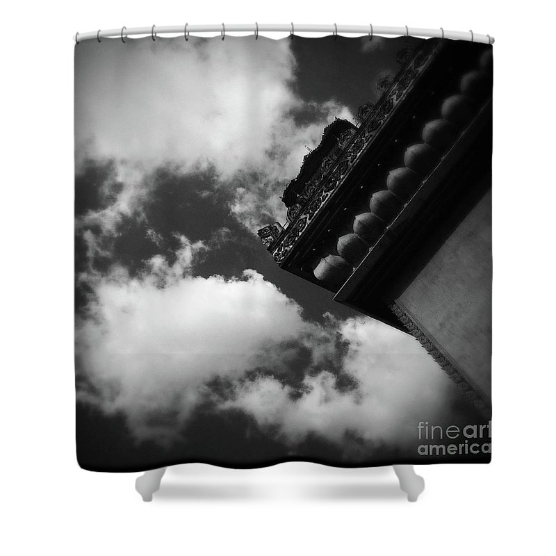 Black And White Shower Curtain featuring the photograph Vientiane Sky by Collective Seventy