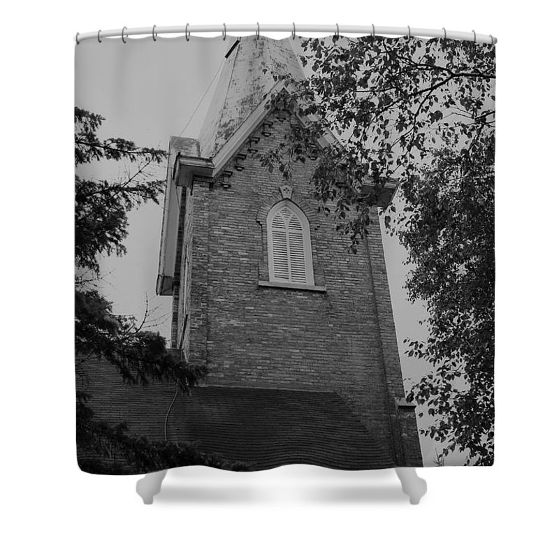 Shower Curtain featuring the photograph Grey Steeple by John Bichler