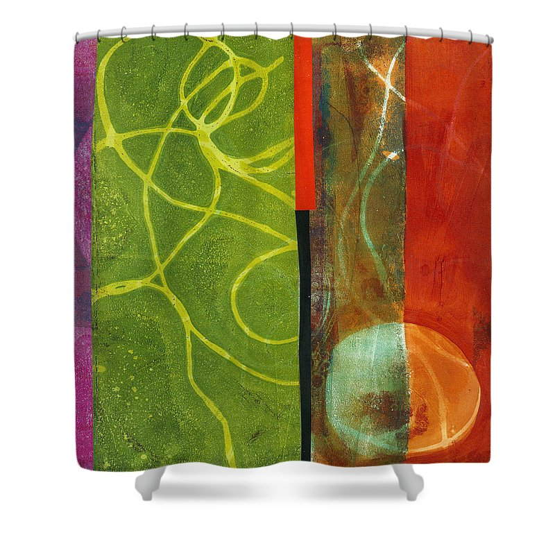 Acrylic And Collage Shower Curtain featuring the painting Grid Print 13 by Jane Davies