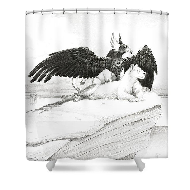 Griffin Shower Curtain featuring the painting Griffin And Lioness by Melissa A Benson