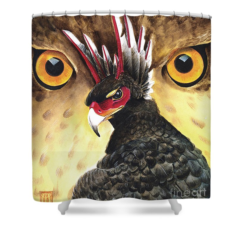 Griffin Shower Curtain featuring the painting Griffin Sight by Melissa A Benson