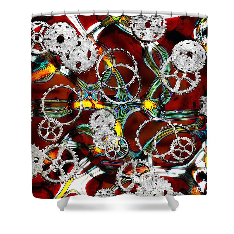 Gears Shower Curtain featuring the painting Grinding The Gears by RC DeWinter