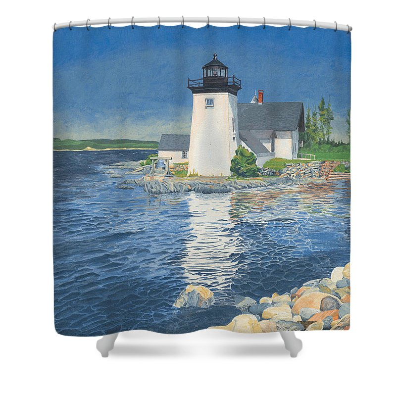 Lighthouse Shower Curtain featuring the painting Grindle Point Light by Dominic White