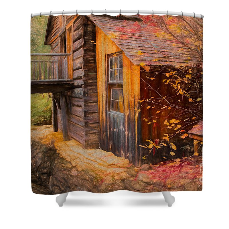 British Columbia Shower Curtain featuring the photograph Grist Mill by Wendy Elliott
