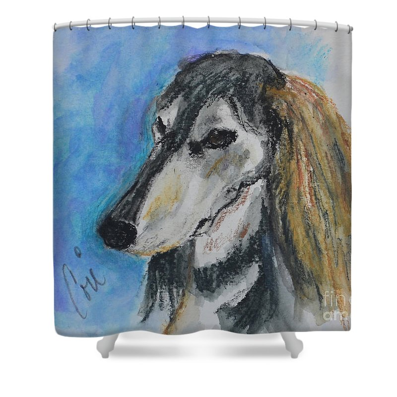Saluki Shower Curtain featuring the painting Griz by Cori Solomon