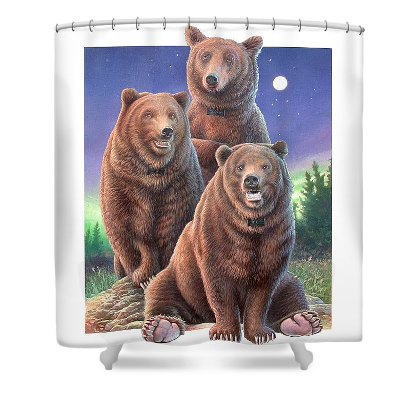 Grizzly Shower Curtain featuring the painting Grizzly Bears In Starry Night by Hans Droog