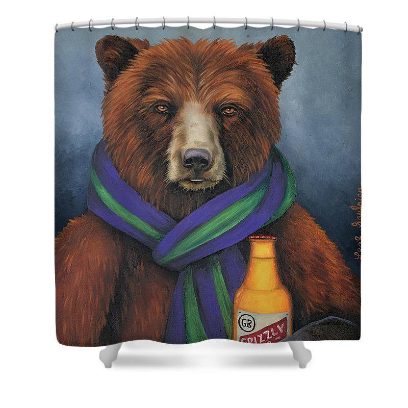 grizzly beer shower curtain for saleleah saulnier the painting