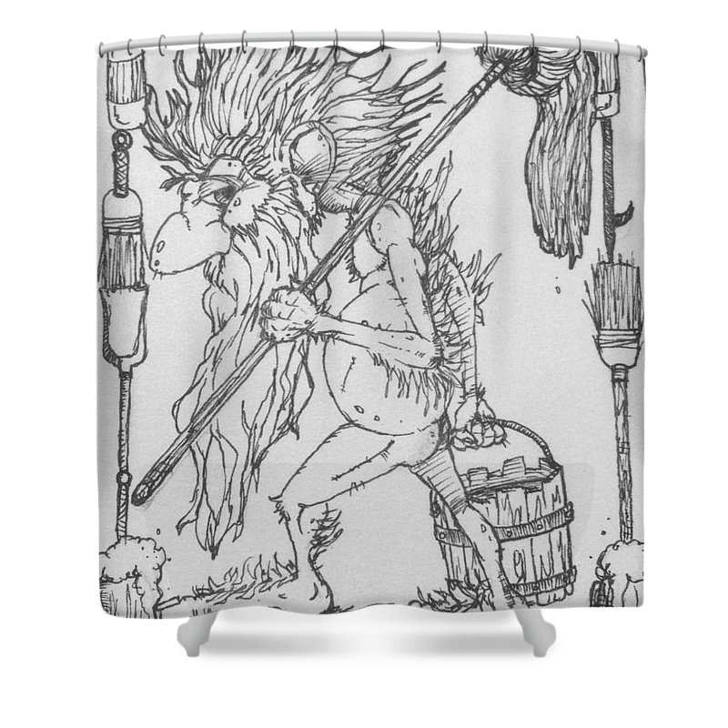 Fae Shower Curtain featuring the drawing Grogoch by Jason Strong