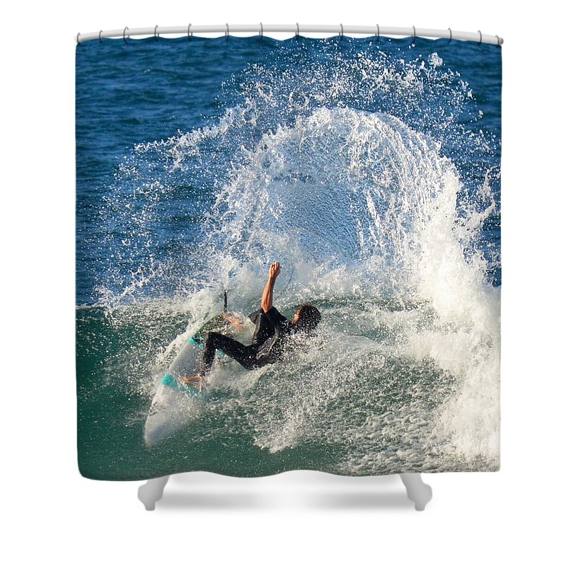 Surf Board Wave Ocean Freedom Spray Splash Shower Curtain featuring the photograph Grommet by Jeff Masters