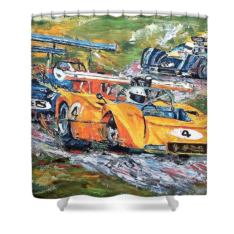 Can-am Race Cars Shower Curtain featuring the painting Group 7 Out Of The Corkscrew by Debbie Sampson