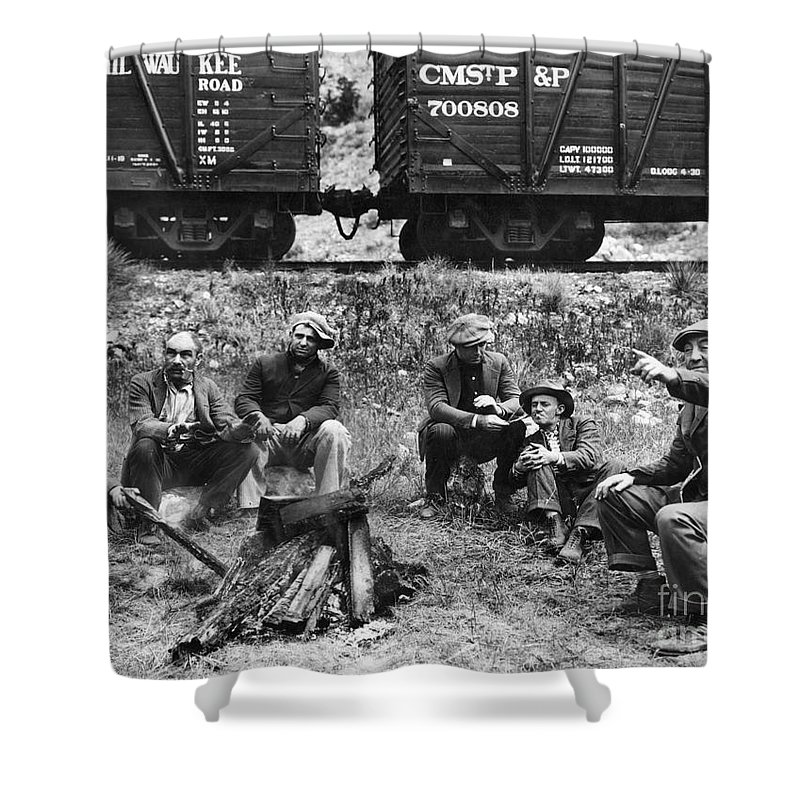 1920s Shower Curtain featuring the photograph Group Of Hoboes, 1920s by Granger