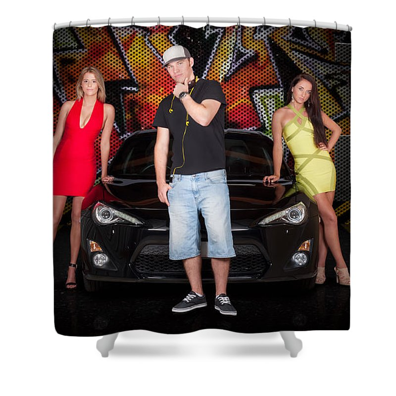 People Shower Curtain featuring the photograph Group Of Young People Beside Black Modern Car by Jorgo Photography - Wall Art Gallery