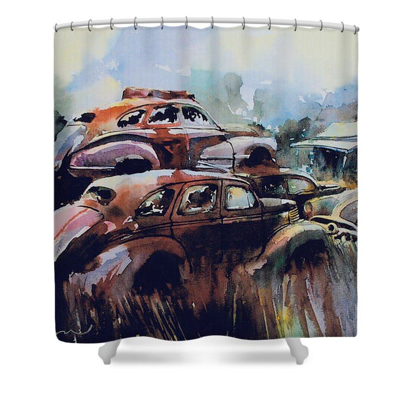 Rusted Chevs Shower Curtain featuring the painting Growing Older by The Year by Ron Morrison