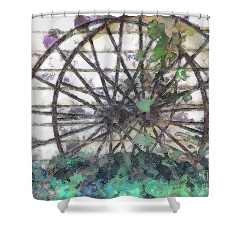 Old Shower Curtain featuring the photograph Growing Wheels by Teresa Henry