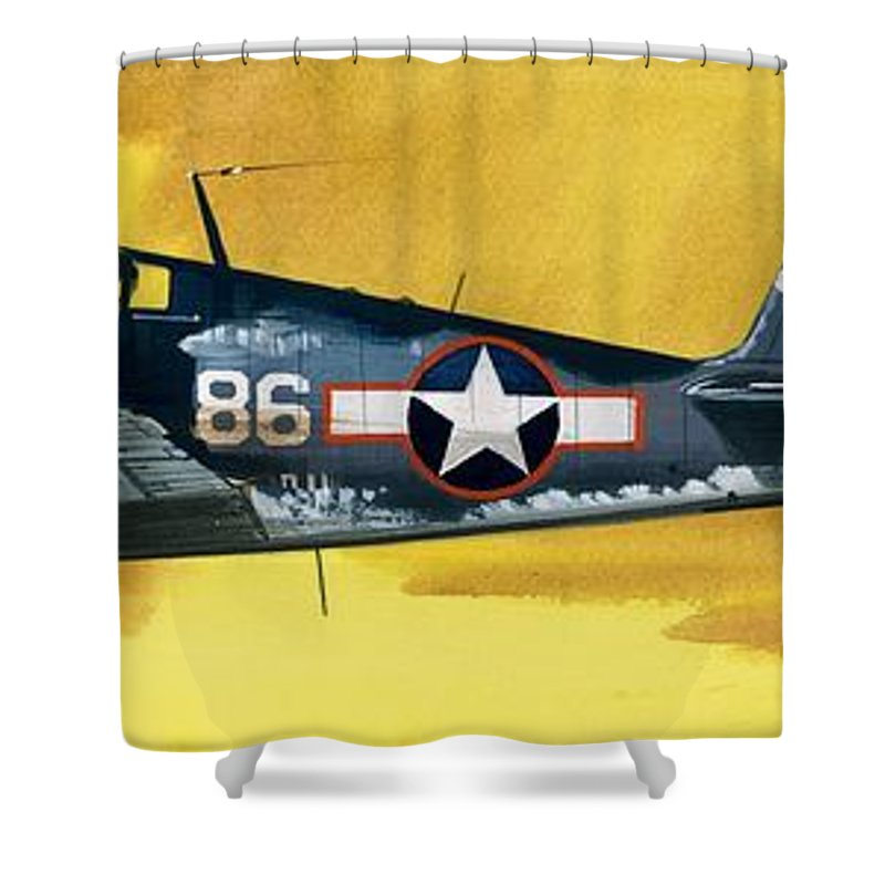 Aircraft; Aeroplane; Plane; Flying; Grumman F4rf-3 Wildcat; Grumman F6f-3 Hellcat; Chance Vought F4u-1a Corsair Shower Curtain featuring the painting Grumman F6f-3 Hellcat by Wilf Hardy