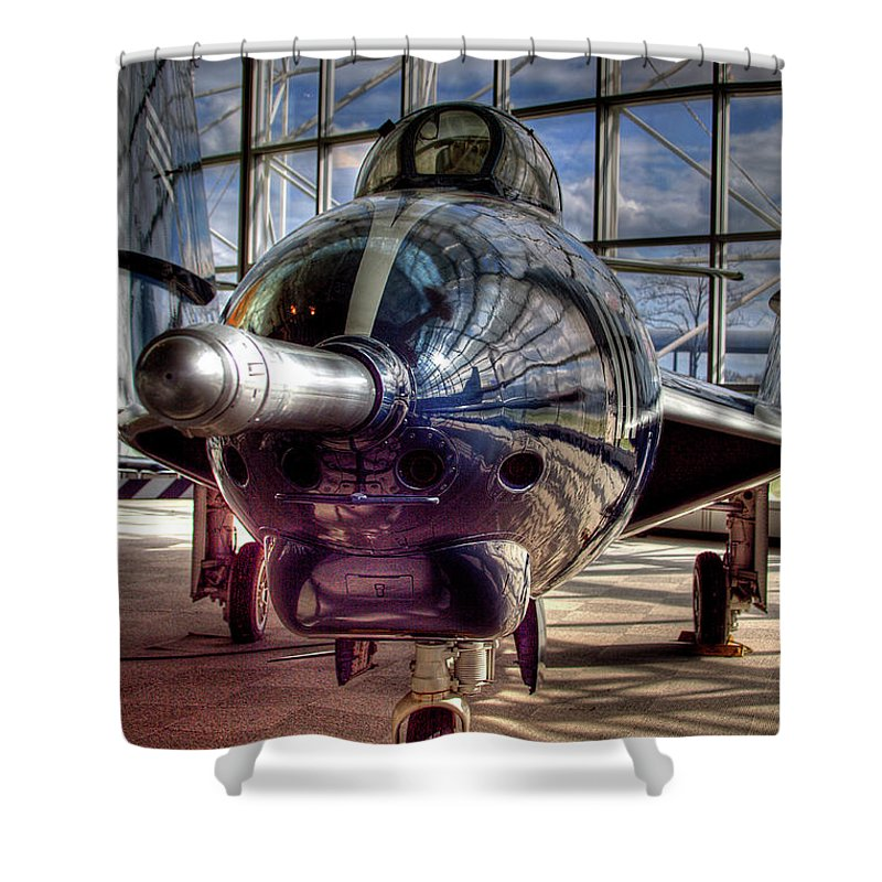 Jet Shower Curtain featuring the photograph Grumman F9f-8 F-9j Cougar by David Patterson