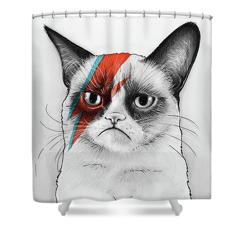 Grumpy Cat As David Bowie Shower Curtain for Sale by Olga Shvartsur