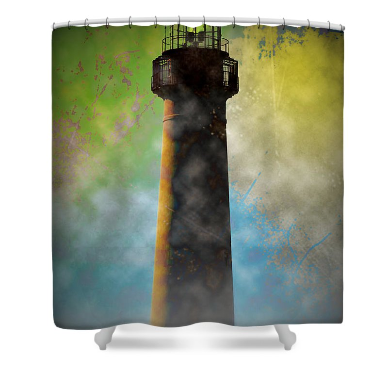 Grunge Shower Curtain featuring the photograph Grunge Lighthouse by Bill Cannon