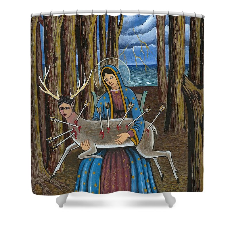 Guadalupe Shower Curtain featuring the painting Guadalupe Visits Frida Kahlo by James RODERICK
