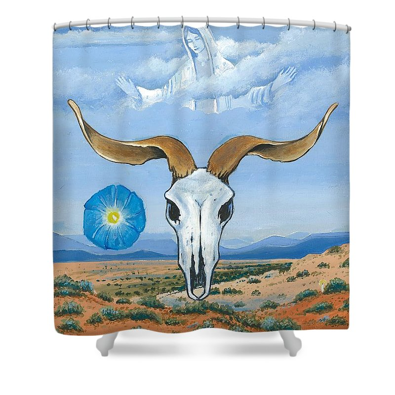 Guadalupe Shower Curtain featuring the painting Guadalupe Visits Georgia O'keeffe by James RODERICK