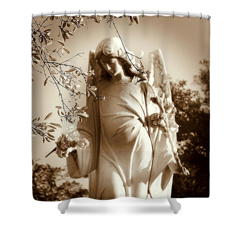 Angel Shower Curtain featuring the photograph Guardian Angel BW by Susanne Van Hulst