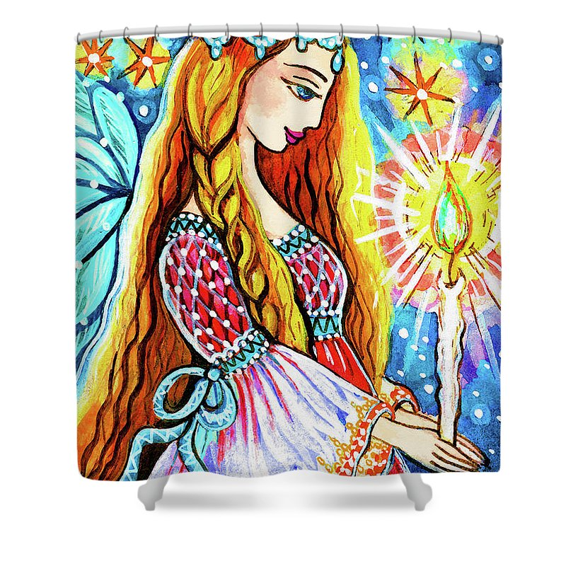 Pregnant Mother Shower Curtain featuring the painting Guardian Mother Of Life by Eva Campbell
