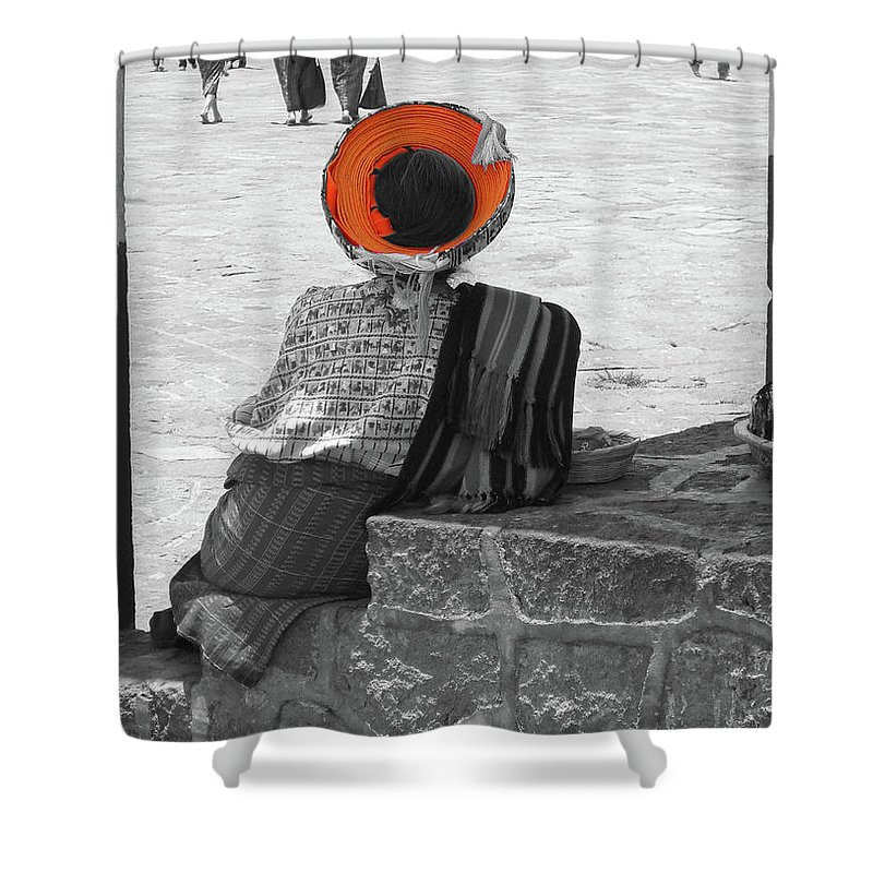 Guatemalan Woman Shower Curtain featuring the photograph Guatemalan Woman by Miriam Lillevand