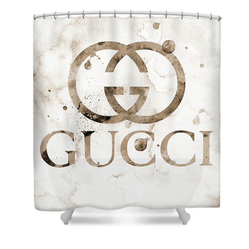 6116b603594 Gucci Logo Beige 1 Watercolor 6 Shower Curtain for Sale by Del Art