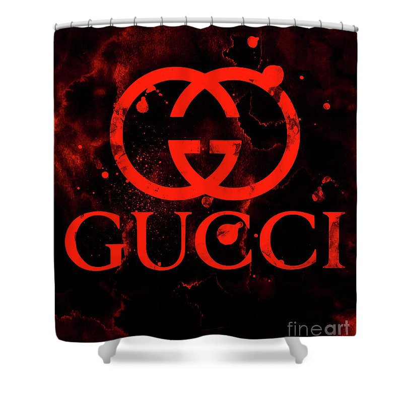 bb98fd54c93 Gucci Logo Red 2 Shower Curtain for Sale by Del Art