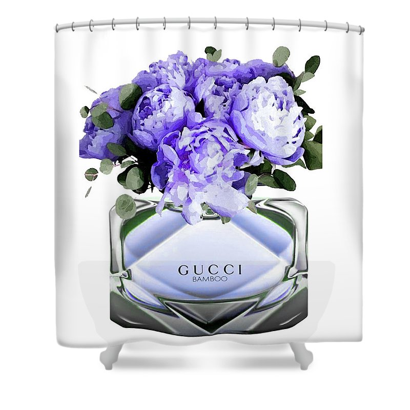 Gucci Shower Curtain featuring the mixed media Gucci Perfume With Flower by Del Art