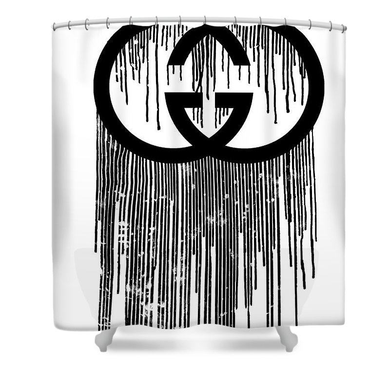 Gucci Print Black Shower Curtain For Sale By Del Art