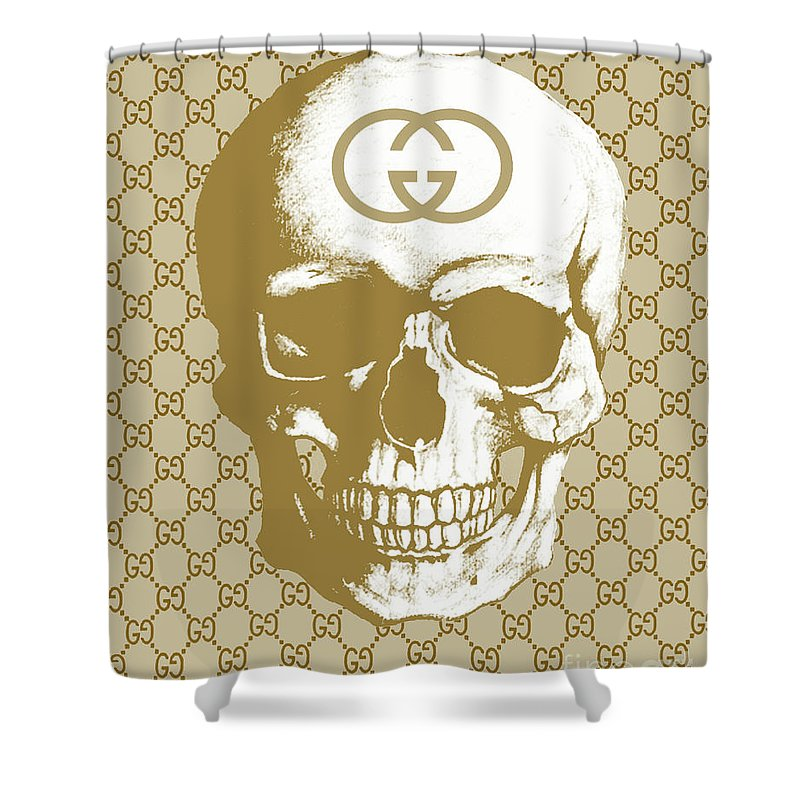 Gucci Skull Beige Shower Curtain For Sale By Del Art