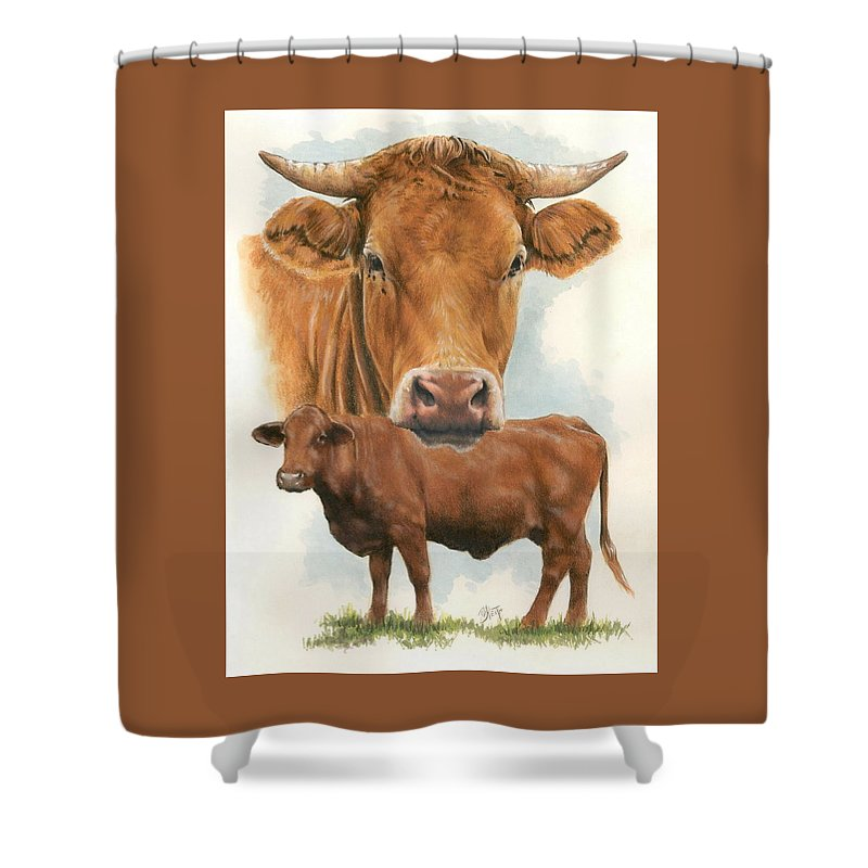 Cow Shower Curtain featuring the mixed media Guernsey by Barbara Keith