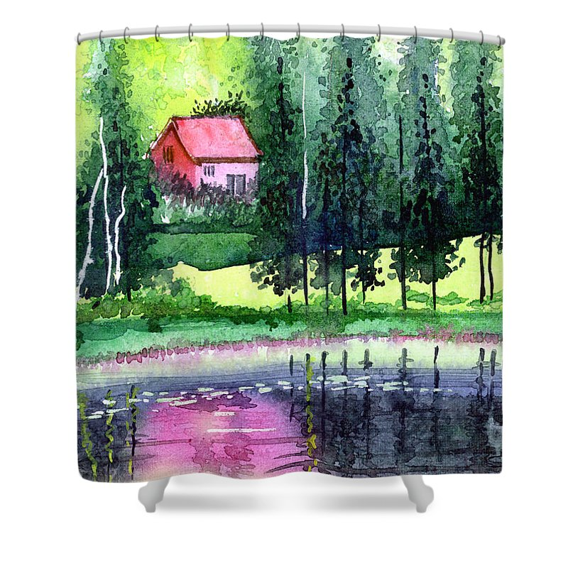 Landscape Shower Curtain featuring the painting Guest House by Anil Nene