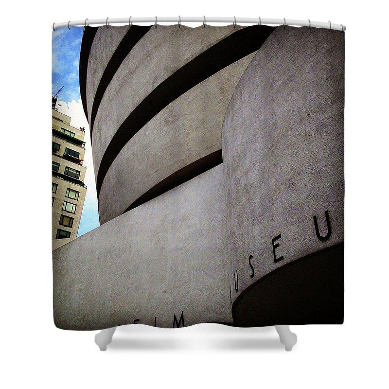 Guggenheim Museum Exterior Shower Curtain featuring the photograph Guggenheim Museum Exterior by Patrick Malon