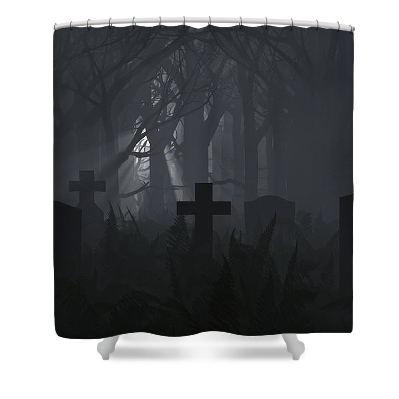 Death Shower Curtain featuring the digital art Guiding Light by Richard Rizzo