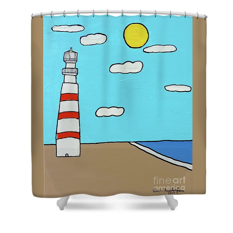 Beach Shower Curtain featuring the painting Guiding Light by Sean Brushingham