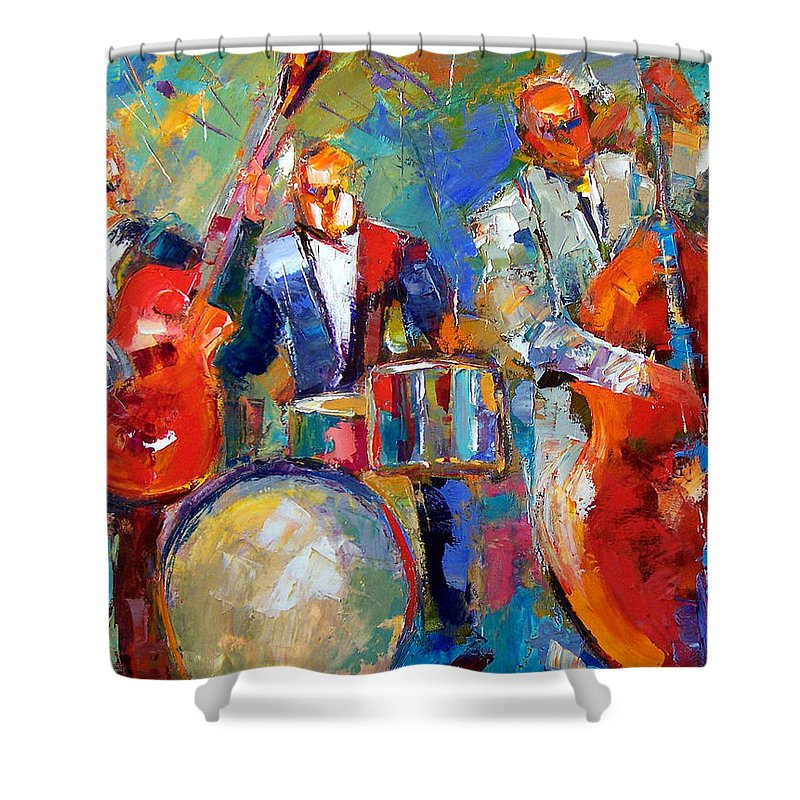 Jazz Painting Shower Curtain featuring the painting Guitar Drums And Bass by Debra Hurd