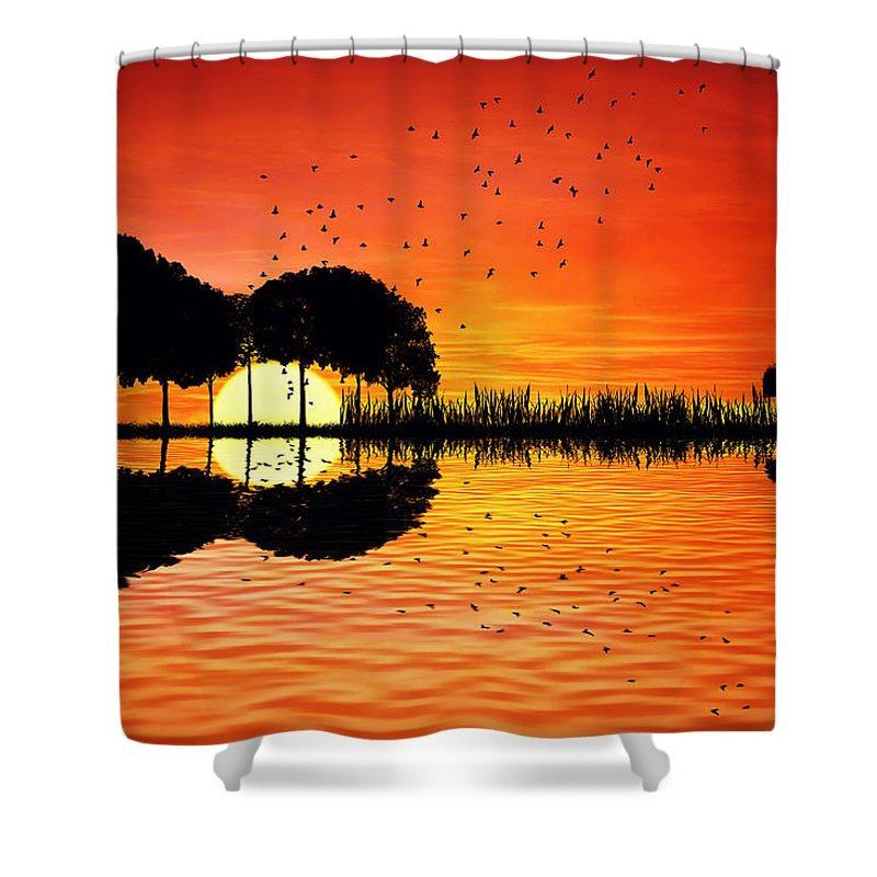Guitar Shower Curtain featuring the digital art Guitar Island Sunset by Psycho Shadow