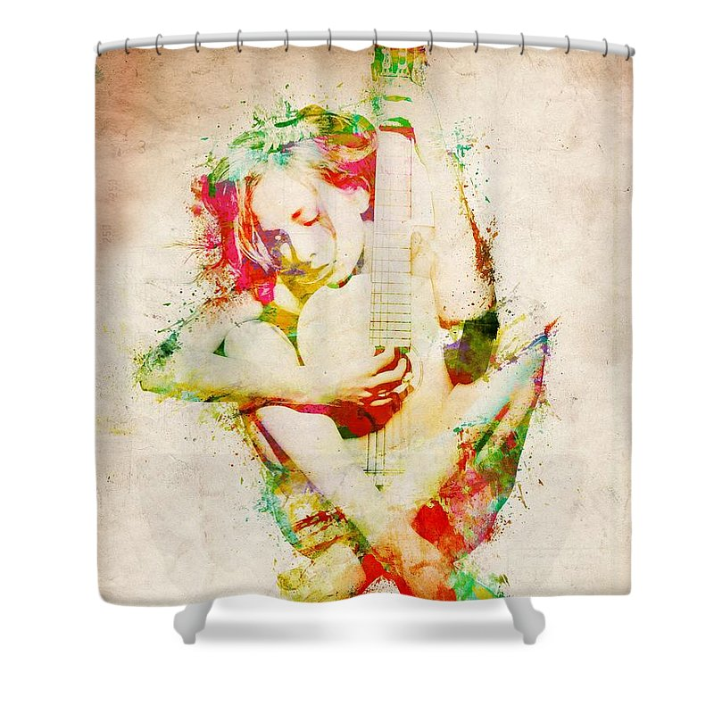 Guitar Shower Curtain featuring the digital art Guitar Lovers Embrace by Nikki Smith