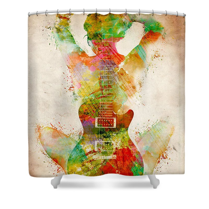 Guitar Shower Curtain featuring the digital art Guitar Siren by Nikki Smith