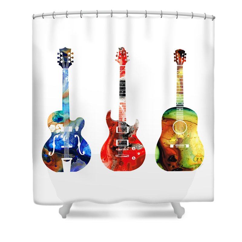 Guitar Shower Curtain featuring the painting Guitar Threesome - Colorful Guitars By Sharon Cummings by Sharon Cummings